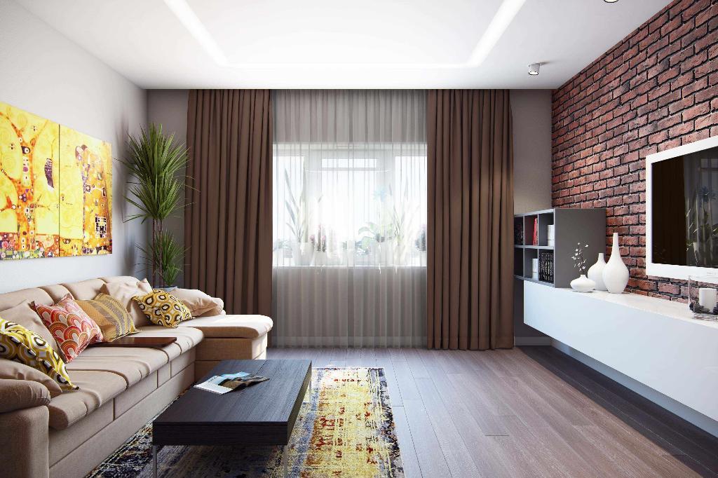пример яркого декора гостиной комнаты 17 кв.м