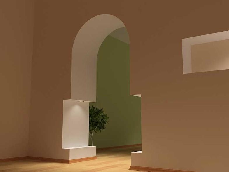 Фигурная межкомнатная арка без штор