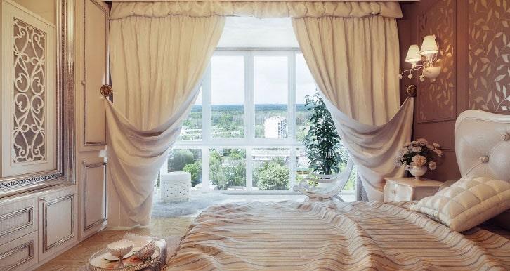 кремовые шторы