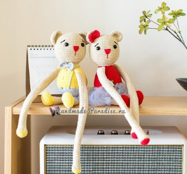 Вязаные мишки - подхваты для штор в детскую комнату