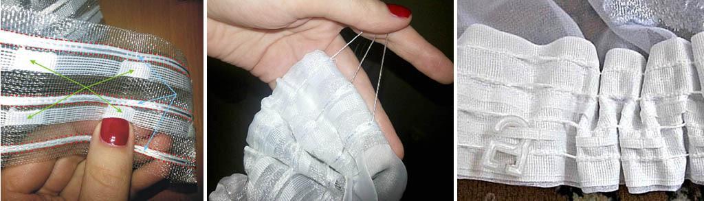 Нашивка шторной ленты на тюль