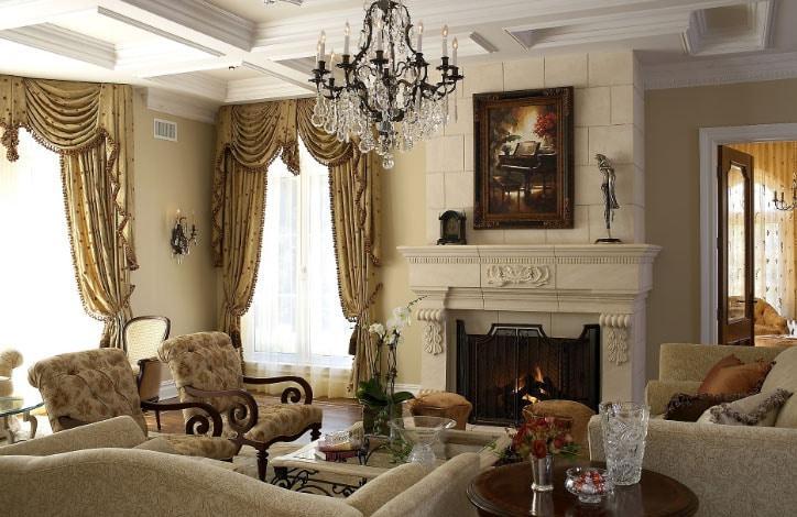 сочетание штор в интерьере викторианского стиля