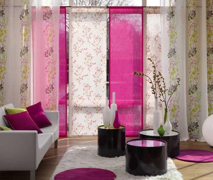 сочетание штор в интерьере японского стиля