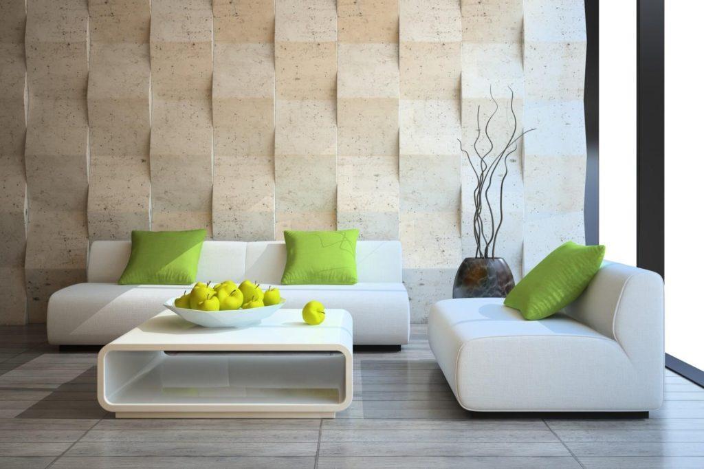Сочетания белого дивана с зелёным цветом