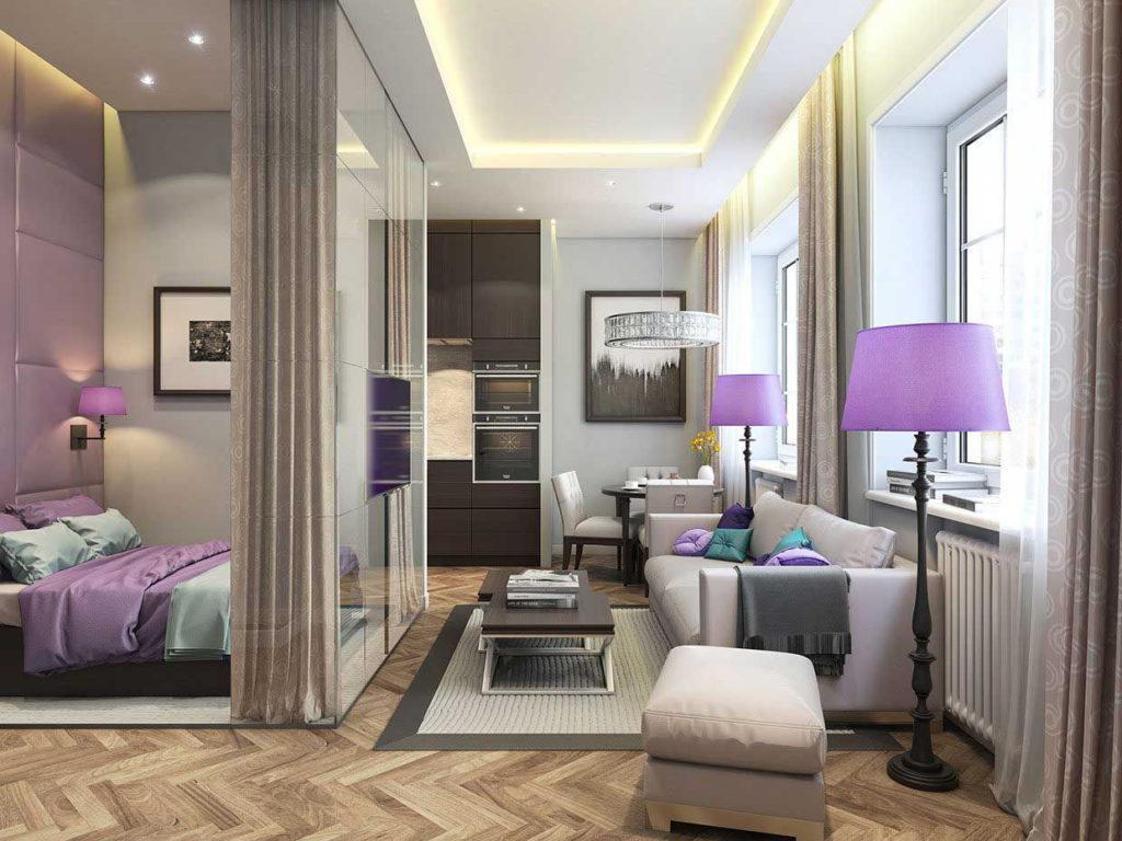Сочетание белого дивана с фиолетовыми светильниками