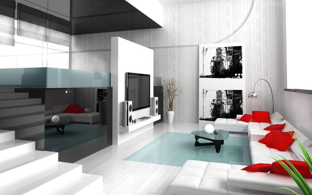 Белый диван в гостиной декорированный красными подушками
