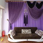 Легкие шторы в фиолетовом цвете для детской