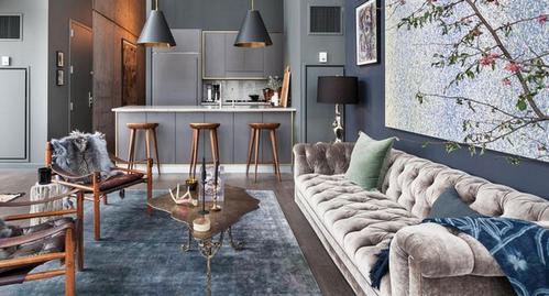 бархатный диван в интерьере