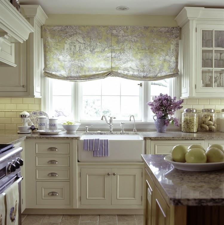 Кантри стиль прованс - английская штора на кухне