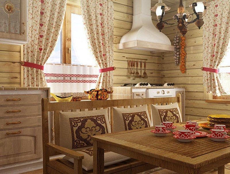 Русские шторы в стиле кантри