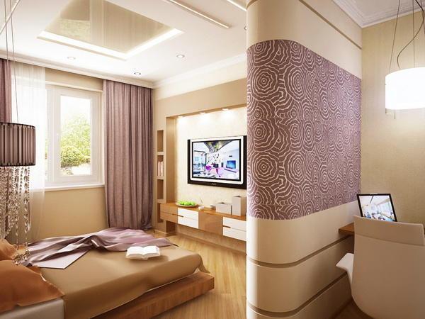 Сиреневые шторы в персиковой спальне