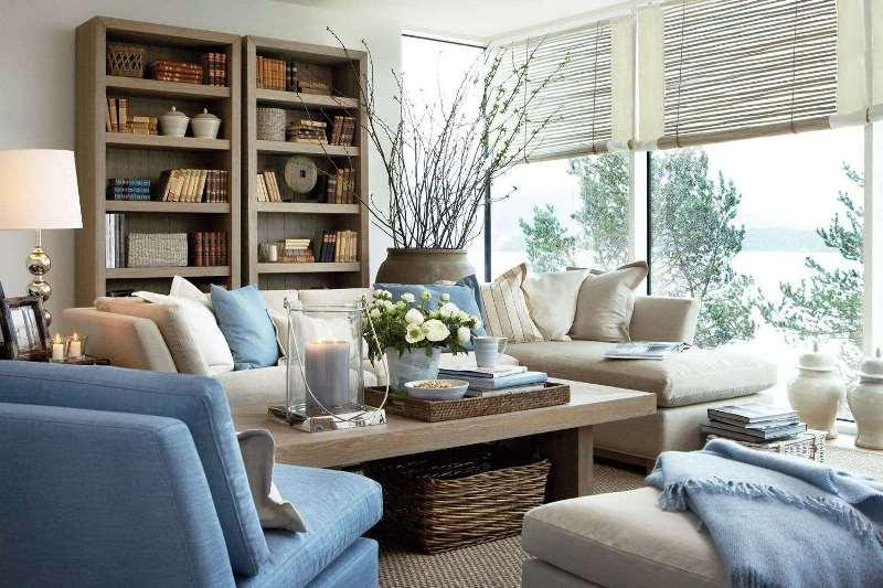 рулонные шторы из натуральных материалов в гостиной