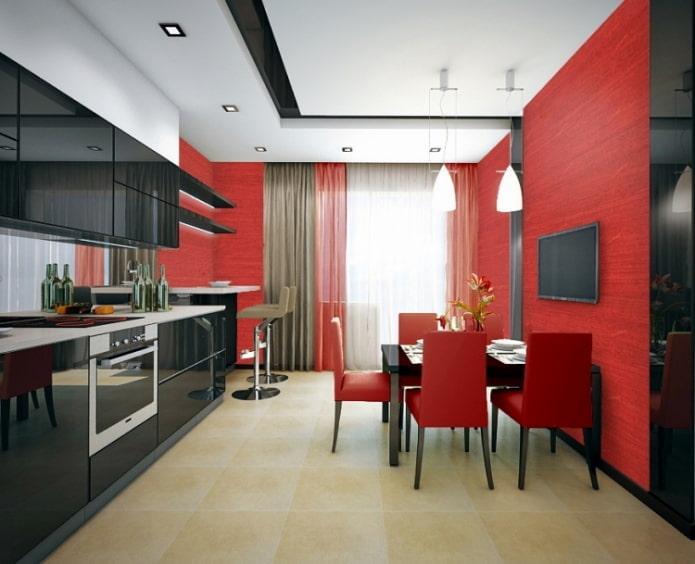 шторы к красно-черной кухне