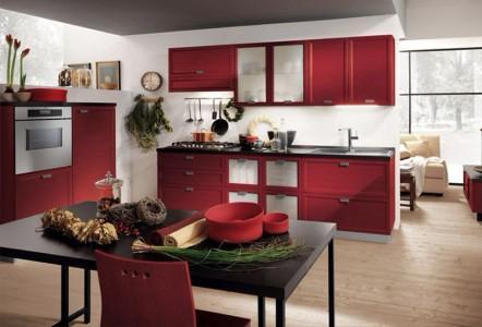 Классическая черно-красная кухня