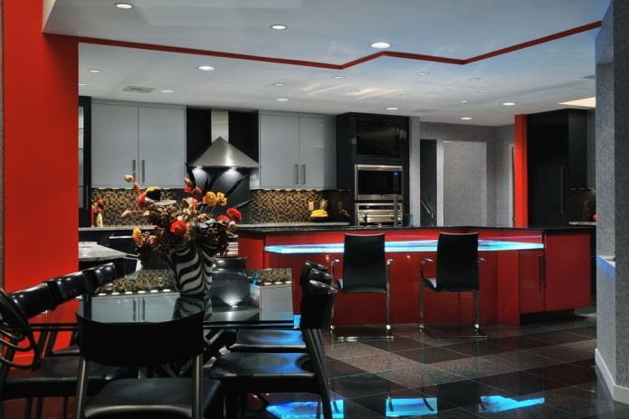 Красно-черная кухня с серыми шкафчиками
