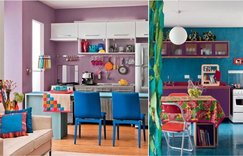 Сочетание синего с фиолетовым в интерьере кухни