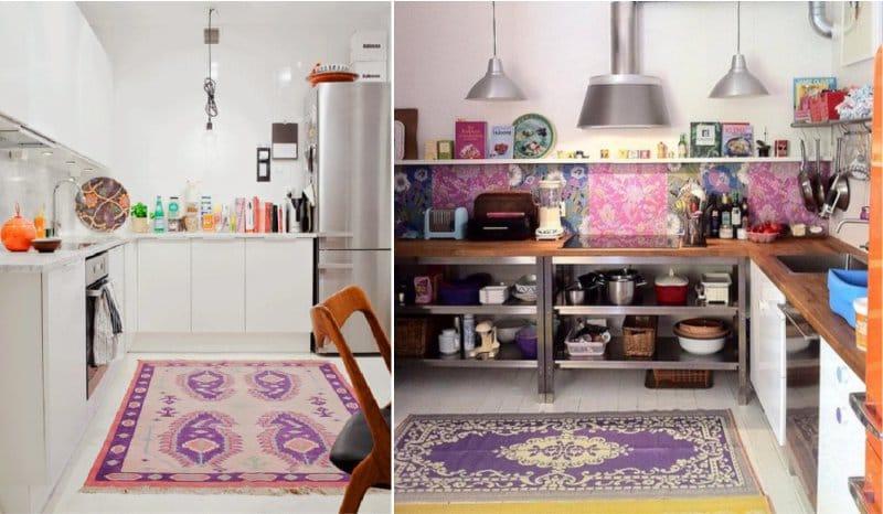 Фиолетовый коврик в интерьере кухни