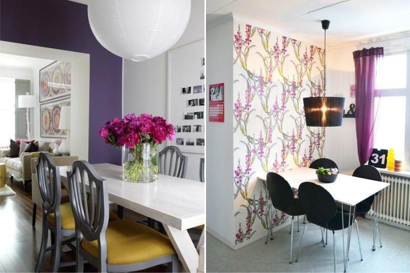 Сочетание желтого и фиолетового цвета в интерьере кухни