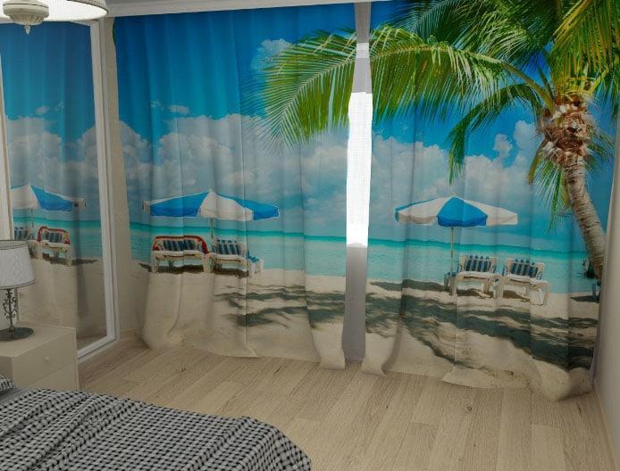 шторы 3д с рисунком пальм