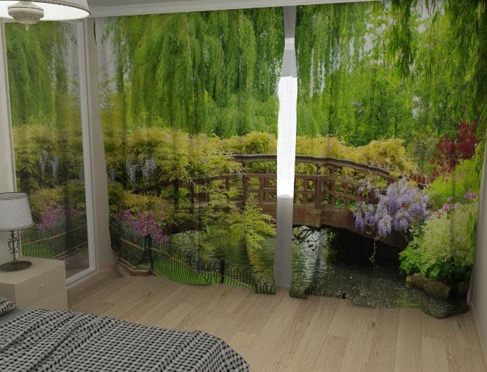 шторы с рисунком природы