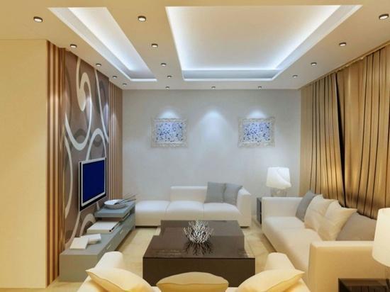 Уютная гостиная с потолком из гипсокартона и скрытым карнизом