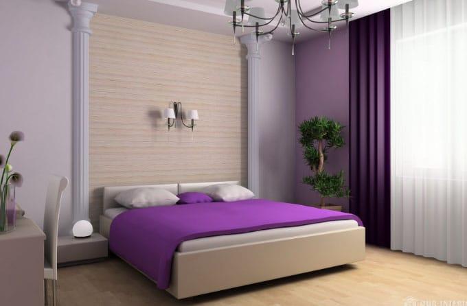 фиолетовые шторы и покрывало