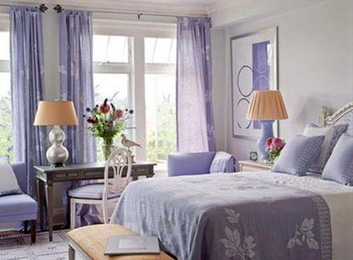 фиалковые шторы для спальне