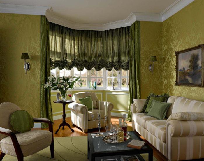 Оливковые шторы в спальню, гостиную и на кухню— лучшие решения