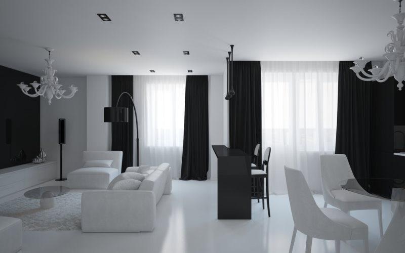 шторы из атласа в интерьере в стиле хайтэк