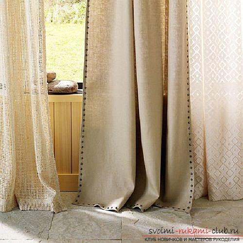 Фото примеры пошива оригинальных штор из льна. Фото №1