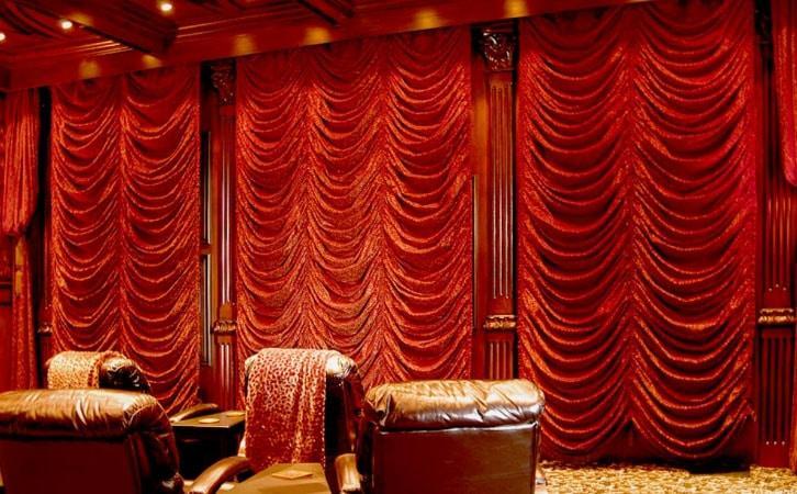 красные французские шторы