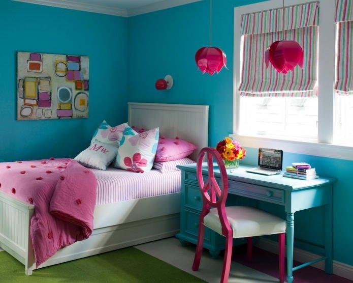 бирюзово-розовый цвет в детской комнате