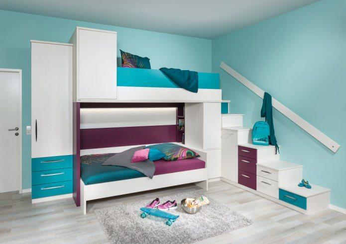 бирюзовый цвет в детской комнате для двоих детей