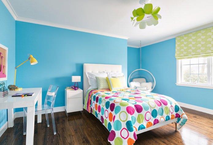 бирюзовый цвет в детской комнате для девочки
