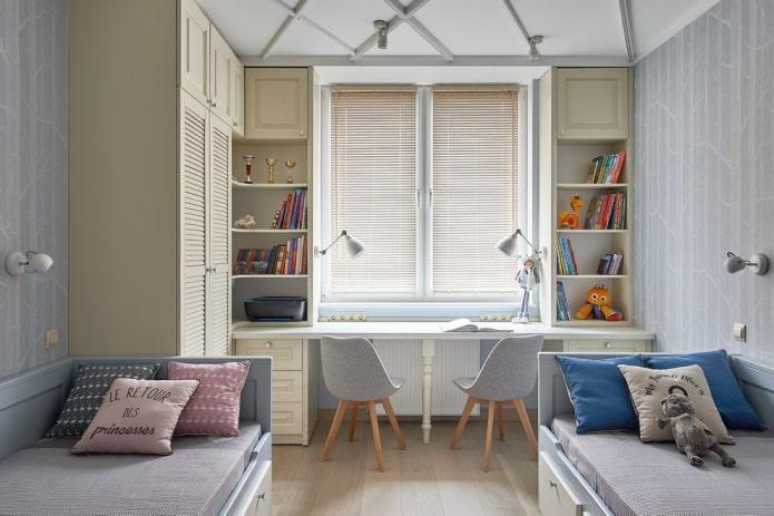 шкафчики вокруг окна в интерьере детской