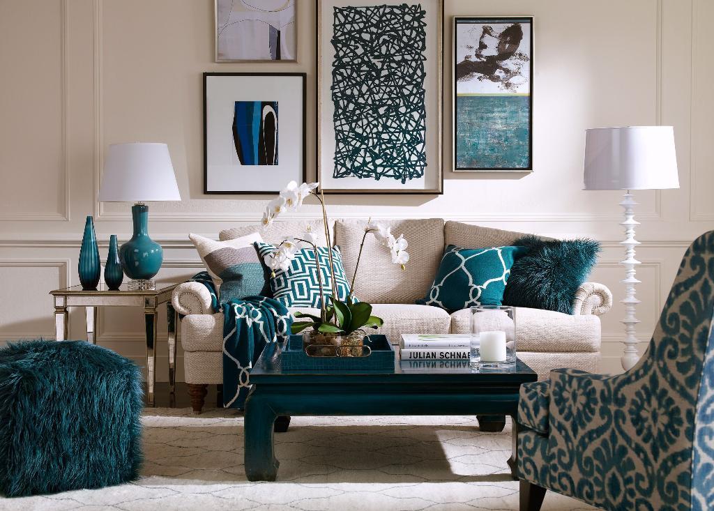 Элементы бирюзового цвета в текстиле