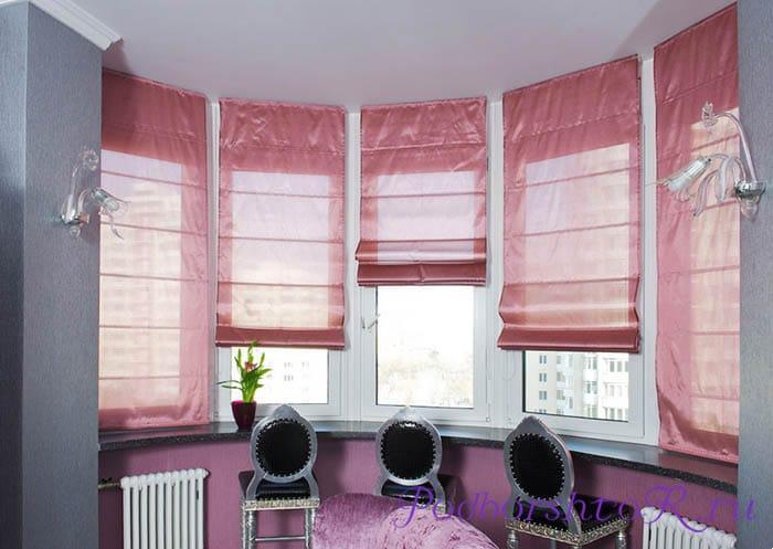 Римские шторы на эркерных окнах