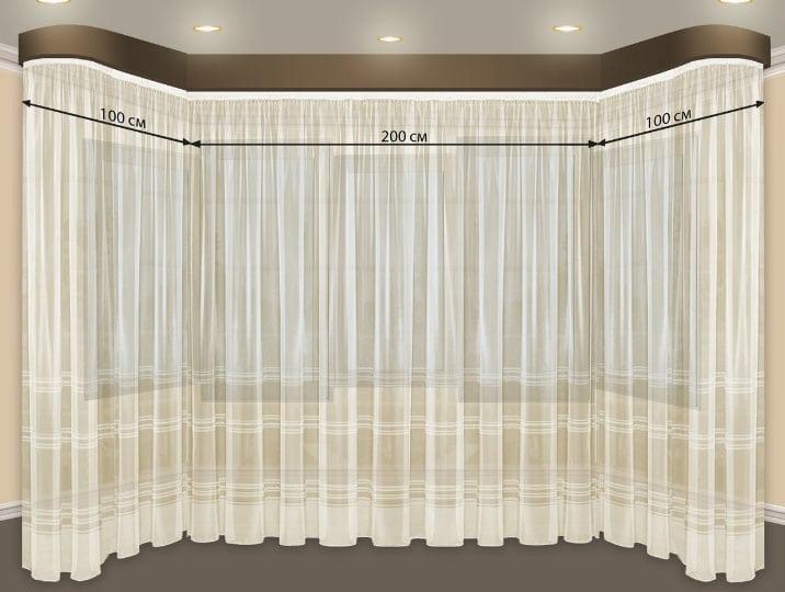 размеры эркерных штор