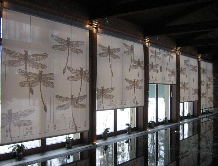 рулонные шторы с рисунком стрекоз