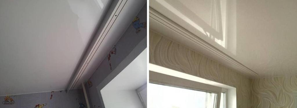 Особенность видимого карниза заключается в том, что он крепится на спрятанный под натяжным потолком опорный брус