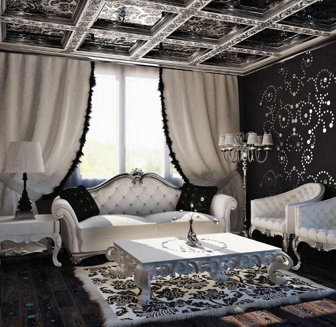 Черно-белые шторы в интерьере гостиной