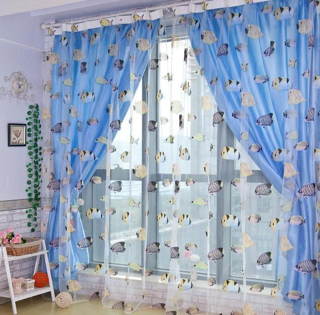 шторы для детской с рыбами