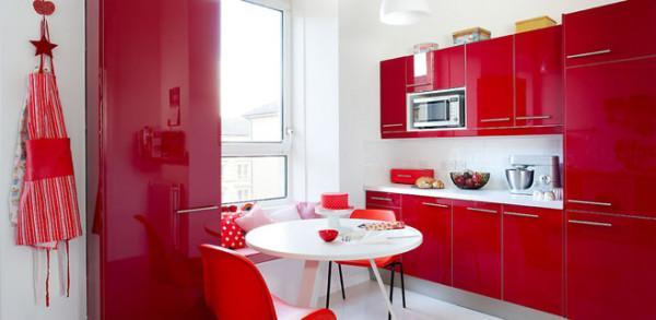 Бело-красная кухня