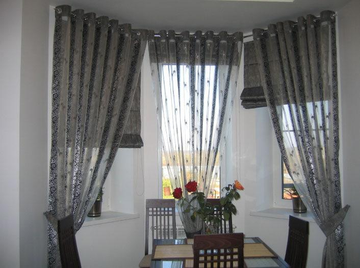 шторы на три окна на кухню