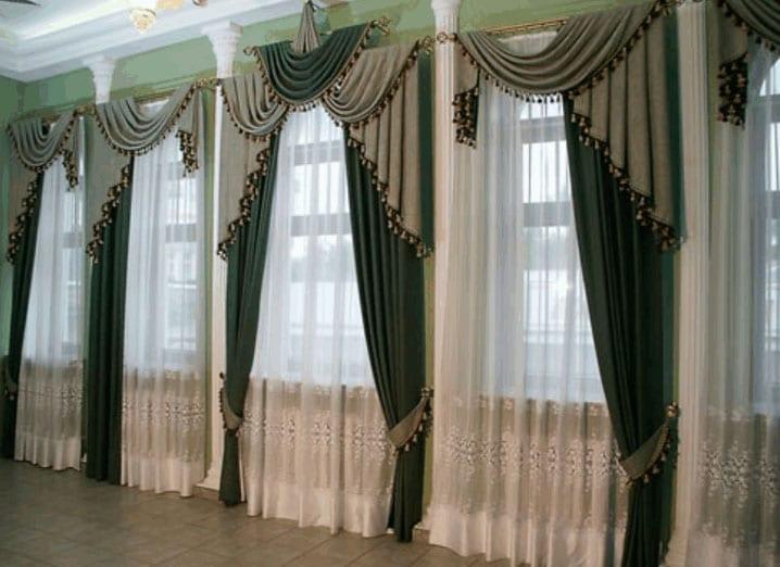 2-сторонние шторы в зале