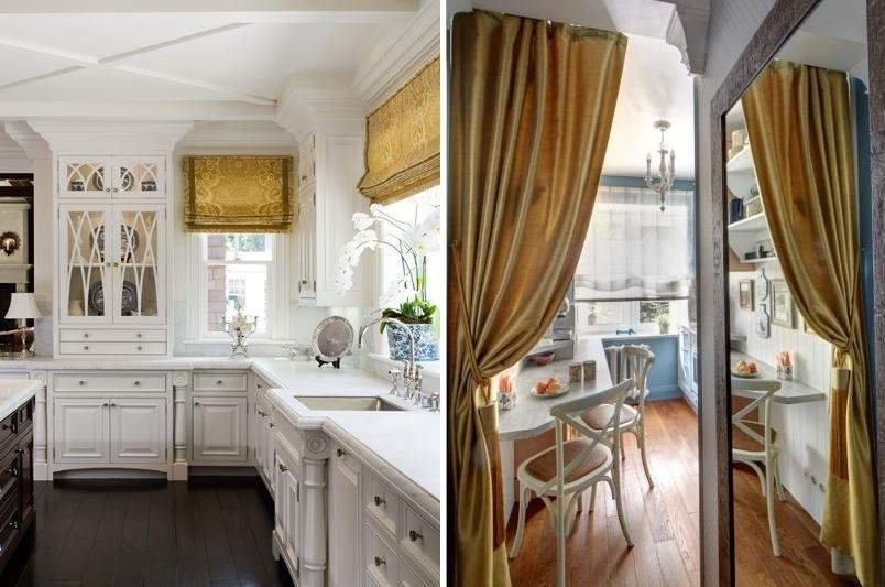золотистые шторы на кухне