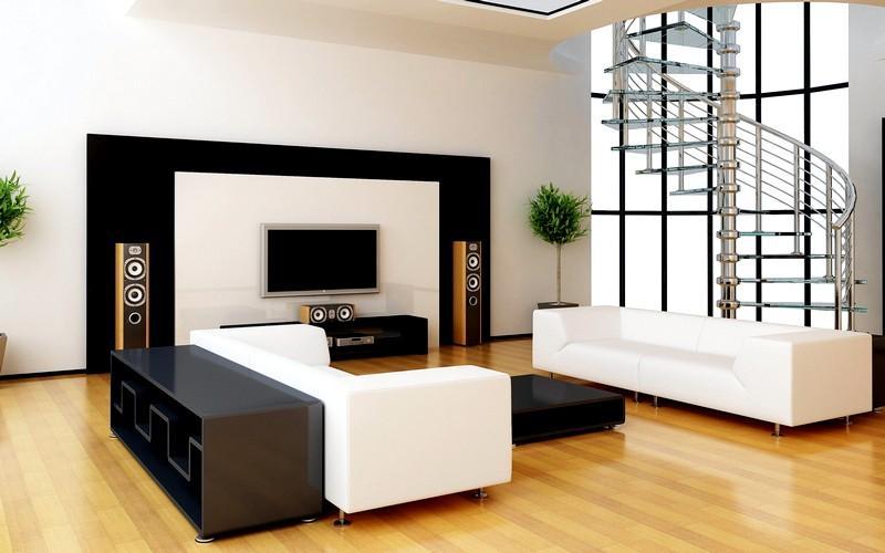 Красивый интерьер гостиной в стиле минимализм