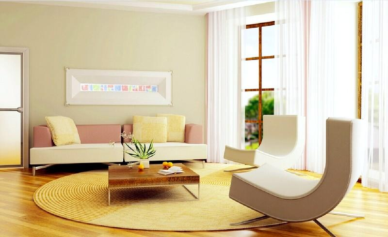 Гостиная в стиле минимализм с необычной мебелью