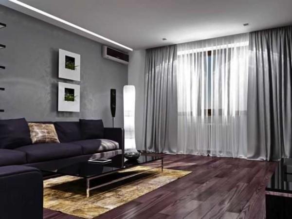 Для спокойного дизайна ткани неяркие, в той же палитре, что и стены