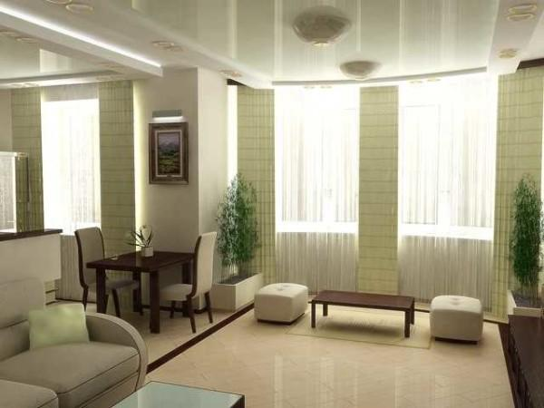 Гостиная в стиле минимализм: гардины классического кроя, портьеры - японского типа